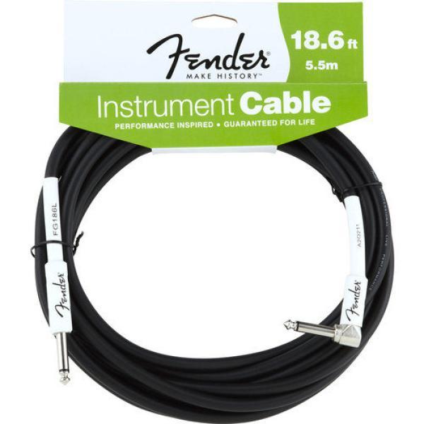 FENDER 18.6FT Instrument Cable - Black - Angled سلك توصيل