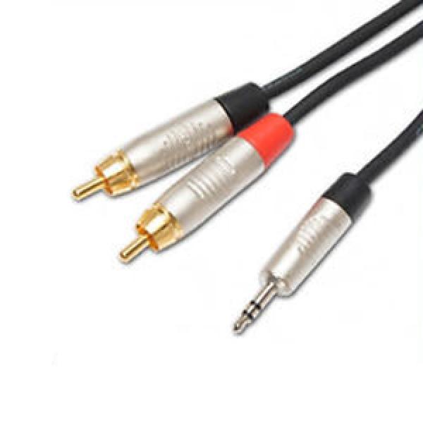Adam Hall - K4YWCC00300 REAN 3.5mm Jack to 2 RCA Audio Cable 3M  سلك توصيل اوكس إلى اوديو بطول 3متر من شركة آدم هول الآلمانية مع جكات ذات جودة عالية مناسب لتوصيل الجوال والكمبيوتر وغيرها بالأجهزة الصوتية