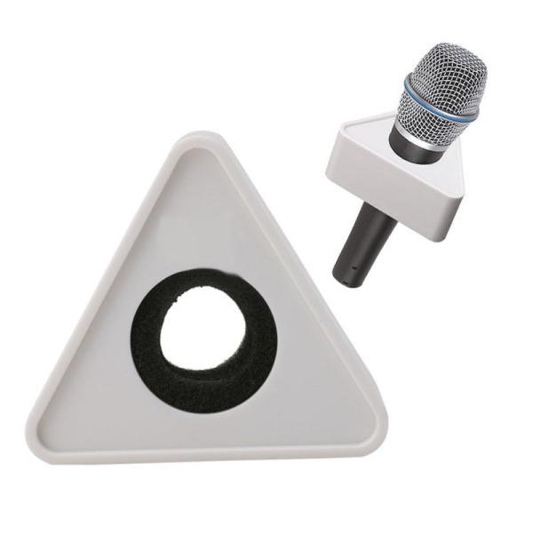 Plastic Microphone Interview Triangular Logo Flag Station  ملث بلاستيكي خاص بالمايك لوضع شعار مؤسستك مناسب لأغلب المايكات مقاس 3.9سم قطر الدائرة