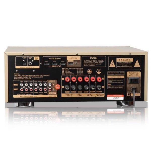 MAXMEEN MG-AV900 5.1-Channel AV Receiver امبلي فير من ماكسمين بقوة 780وات يعمل كرسيفر بنظام الأوم يدعم خاصية الصوت المحيطي 5.1 مع بلوتوث ويو اس بي ولاقط واوكس مناسب للأستخدام  للقاعات وغرف السينماء المنزلية جودة عالية ضمان سنتين